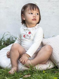Body maniche lunghe ecrù con stampa colletto sangallo neonata BAANDREA / 21H1BF11BOD001