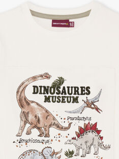 T-shirt a maniche corte ecrù con motivi dinosauri bambino BAMOAGEEX / 21H3PG21TMC001