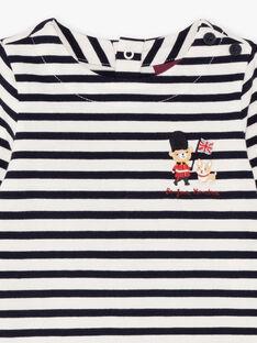 T-shirt bianca e navy a righe neonato BAFLORIS / 21H1BG51TML001