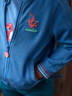 Giubbotto blu ricamo drago ZADOUNAGE / 21E3PGJ1GILC206