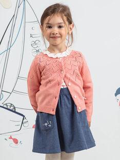 Cardigan maniche lunghe rosa con motivo coniglietto bambina BYCARETTE / 21H2PFL1CAR415