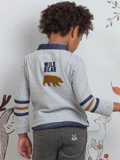 Polo maniche lunghe grigia motivo orsetto bambino BICLOAGE / 21H3PGJ1POLJ902