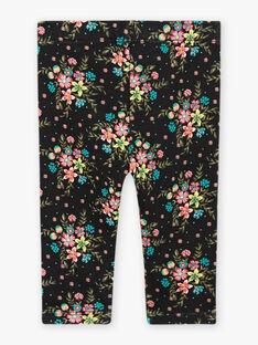 Leggings neri con stampa a fiori neonata BAMADDY / 21H4BFM1CAL090