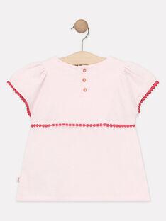 T-shirt rosa chiaro ricamata bambina TIUVETTE / 20E2PFQ1TMCD317