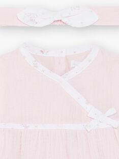 Completo abito rosa chiaro in garza di cotone, leggings e fascia neonata ZOFIA / 21E0CFG2ENS301