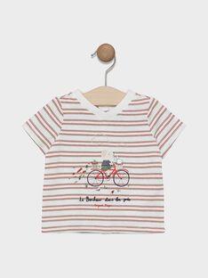T-shirt maniche corte neonato a righe con applicazione sul petto SADENVER / 19H1BG31TMC000
