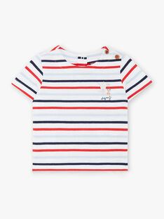 T-shirt maniche corte a righe neonato ZAOLIVIER / 21E1BGT1TMC000