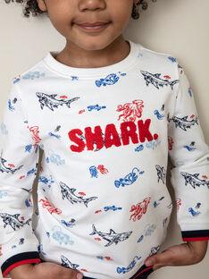 Felpa bianca con stampa squalo colorata bambino ZISOULAGE / 21E3PGT1SWE000