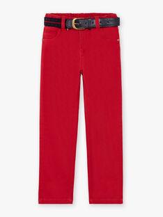 Pantaloni straight e cintura rossi bambino BUXIGAGE2 / 21H3PGB4PAN501