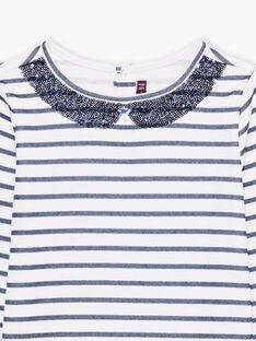 T-shirt maniche lunghe a righe navy bambina BROMARETTE1 / 21H2PFB1TML001