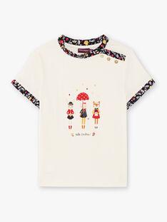 T-shirt maniche corte ecrù stampa fantasia bambina BICHETTEEX / 21H2PF51TMC001