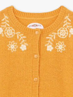 Cardigan senape ricami a fiori bambina BUCARETTE / 21H2PFJ1CAR804