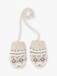 Muffole beige melange in maglia jacquard neonato BIRIVER / 21H4BGE4GANA011