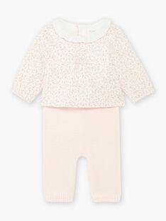 Set body blusa popeline e pantaloni rosa chiaro stampa a fiori nascita bambina BOLEONIE / 21H0CFK2ENS301