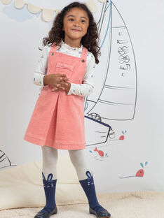 Abito salopette rosa in velluto a costine bambina BYCHASETTE / 21H2PFL1CHS415