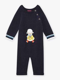 Tuta in maglia blu notte motivo pecora fantasia neonato BANEWMAN / 21H1BGL1CBLC205