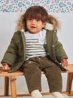 Parka kaki con cappuccio con muffole integrate neonato BIRAPHAEL / 21H1BGE1PAR628