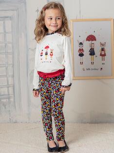 Leggings navy e rossi stampa a fiori bambina BILIETTE / 21H4PF52CAL070
