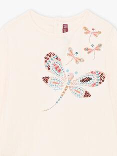 T-shirt rosa chiara con motivi libellule glitterati bambina BRIKETTE / 21H2PFM1TML321