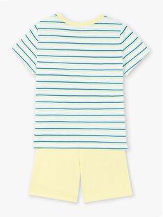 Completo da spiaggia blu e giallo t-shirt e shorts bambino ZIPALAGE3 / 21E3PGQ1ENS001