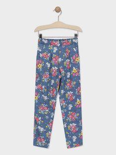 Pantaloni con stampa a fiori blu bambina TAEFIETTE 3 / 20E2PFM1PAN210