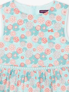 Abito scamiciato blu e corallo con stampa fiore in cotone ZESUZETTE / 21E2PFI1CHS629