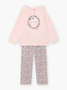 Set pigiama rosa in velluto motivo gatto bambina BEBICOETTE / 21H5PF71PYJD329