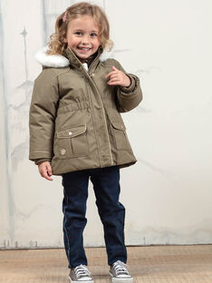 Parka kaki con cappuccio con piumino integrato bambina BLOTEDETTE / 21H2PFC1PAR604