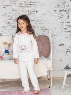 Pigiama t-shirt e pantaloni ecrù e rosa bambina BEBULETTE / 21H5PF61PYJ001