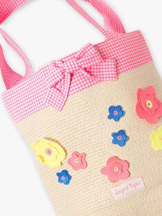 Borsa da spiaggia in paglia con fiori colorati bambina ZAIPAETTE / 21E4PFR2BES009