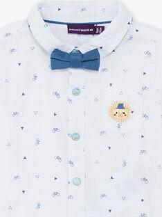 Camicia bianca e blu stampa biciclette e triangoli neonato TYHIRO / 20E1BGZ2CHM000