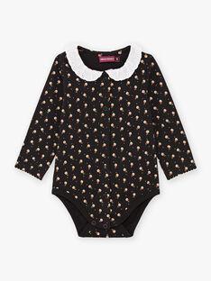 Body maniche lunghe nero con collo con volant neonata BAMIMI / 21H1BFM1BOD090
