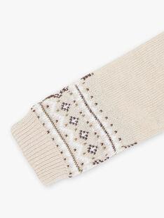 Sciarpa beige melange in maglia jacquard neonato BIRIRI / 21H4BGE2ECHA011