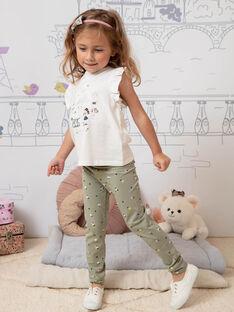 Leggings kaki con stampa a fiori bambina BELUETTE / 21H4PF21CAL604