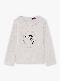 T-shirt maniche lunghe grigia melange con motivo dalmata e fiori bambina BEBLIETTE / 21H2PF21TML943