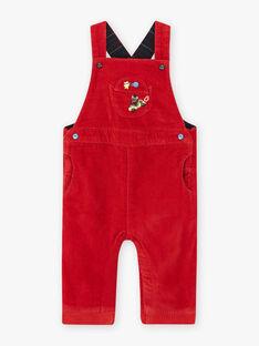 Salopette rossa in velluto neonato BAPAUL / 21H1BGM1SALF528