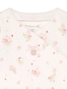 Giacca bianca e rosa stampa a fiori e leggings rosa nascita bambina BONNIE / 21H0NF41ENS301