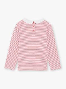T-shirt bianca e rossa a righe bambina BACHETTE / 21H2PF11TMLF505