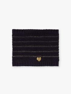 Scaldacollo in maglia navy e dettagli dorati bambina BLOPUETTE / 21H4PFC1SNO070