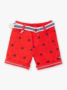 Bermuda rossi ricamati e cintura neonato ZAOSCAR / 21E1BGT1BERF524