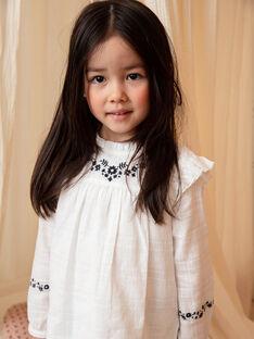 Camicia maniche lunghe ecrù e ricami fiori bambina BECHEMETTE / 21H2PF21CHE001