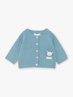 Cardigan blu petrolio in maglia neonato ZOWEN / 21E0CGY1GIL714