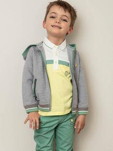 Felpa con cappuccio grigio e verde bambino ZECOULAGE