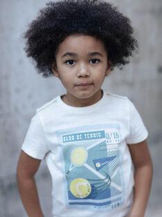 T-shirt bianca e blu bambino ZEBILAGE / 21E3PGO1TMC001