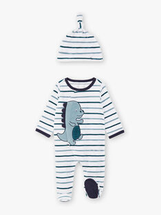 Tutina blu e bianca a righe, motivo dinosaura e berretto neonato BEAYME / 21H5BG67GREG610