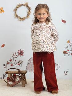 Pantaloni larghi rosso scuro bambina BUBLETTE / 21H2PFJ1PAN821