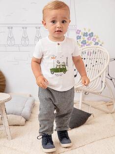 T-shirt bianca e verde neonato BADAEL / 21H1BG21TMC632