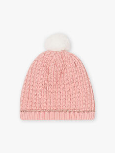 Berretto in maglia fantasia rosa chiaro bambina BLODAETTE / 21H4PFD1BOND300