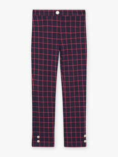 Pantaloni blu inchiostro a quadri rossi bambina BROMILETTE3 / 21H2PFB5PANC214