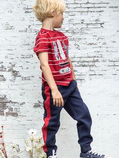 Pantaloni sportivi blu notte e rossi bambino BADONAGE / 21H3PG13PAN720